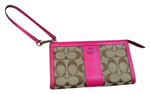 Coach Wristlet in Pink and Tan