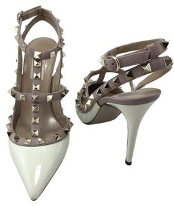 Valentino Rockstud T-strap Studs Patent Pointed-toe Ivory Pumps