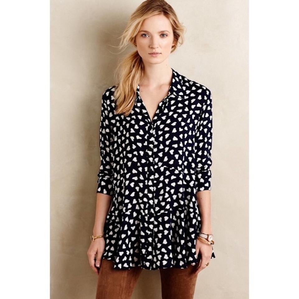 116deb81f378fc Anthropologie Blue and White Tylho Larkin Heart Print M Tunic Size 8 ...