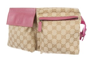 Gucci Hardware Gg Monogram Logo Beige, Brown, Silver, Pink Messenger Bag