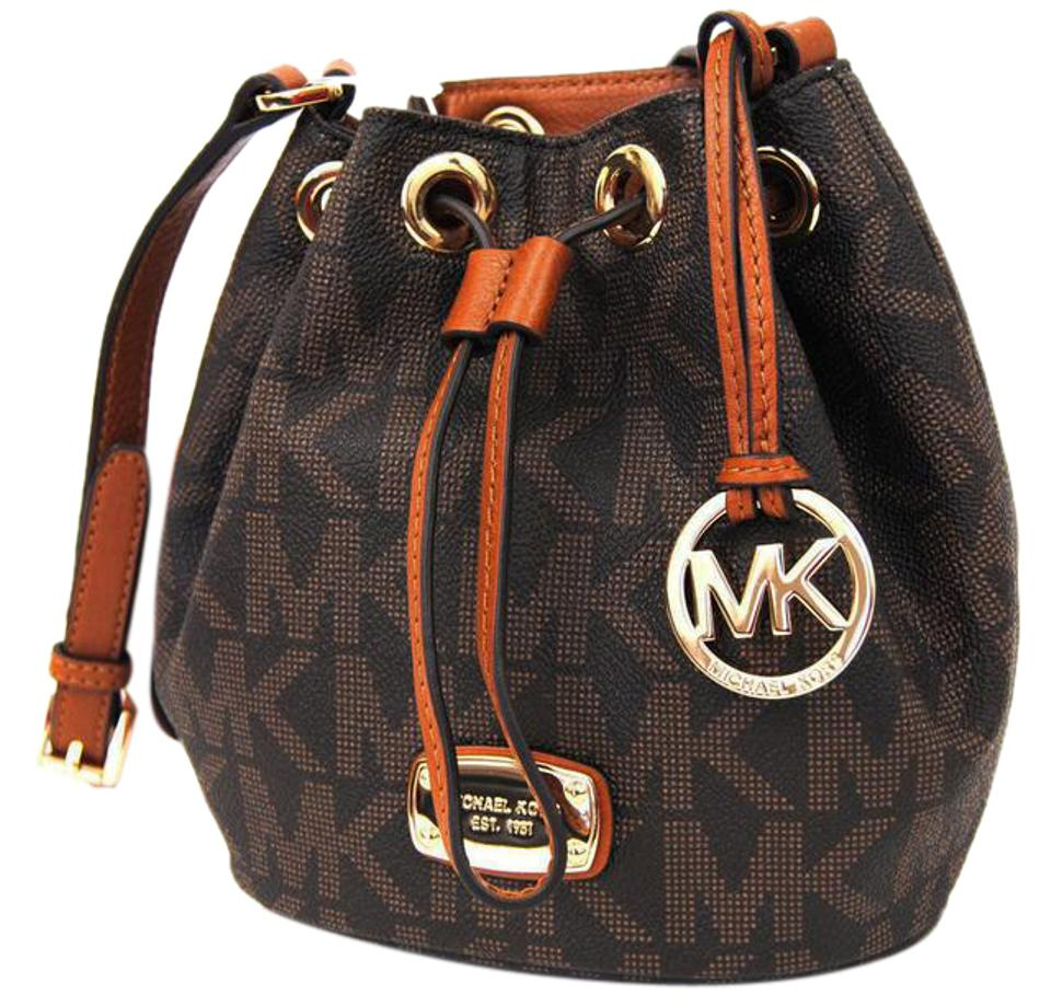 3cd1a61050061d MICHAEL Michael Kors Mini Jules Drawstring Brown Pvc Cross Body Bag ...