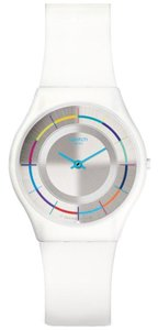 Swatch SFW109 White Party Silver Dial Silicone Strap Women's Watch