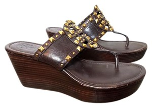 Tory Burch Leather Sandal Studded Brown Wedges