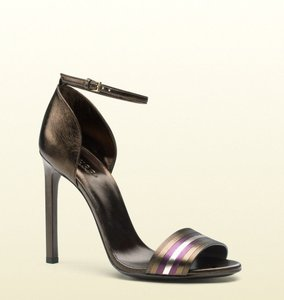 Gucci Leather Brown Metallic Sandals