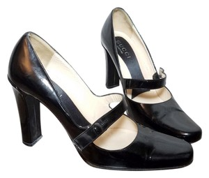 Gucci Patent Leather Strappy Italian Black Pumps