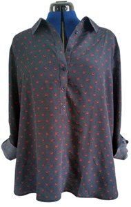 Ann Taylor Plus Size Horse Horse Shoe New New With Tags Button Down Shirt Navy