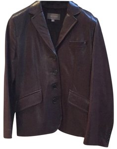 Ann Taylor Leather Fitted Blazer Brown Leather Jacket