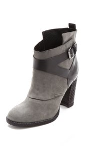 Belle by Sigerson Morrison Moto Leather Rugged Chunky Gray / Black Boots
