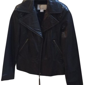 Nine West Vintage Leather Motorcycle Detail Leather Jacket