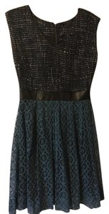 W118 by Walter Baker Leather Detail Tweed Skirt Dress