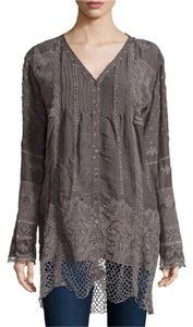 Johnny Was V-neck Crochet Button Down Tunic