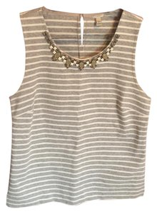 J.Crew Jeweled Ponte Spring Top Grey and White Stripe