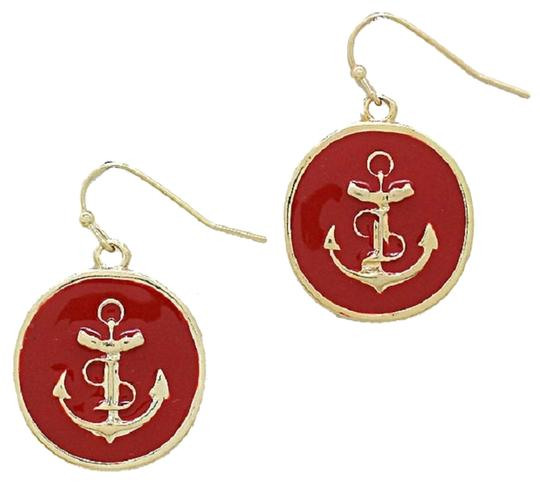 Other Nautical Anchor Disc Drop Red and Gold Earring