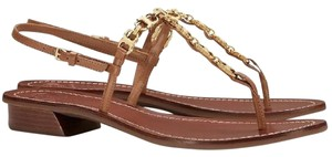 Tory Burch Gemini Gold Chunky Tan Sandals