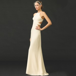 Halston Ivory Halston Heritage Ivory Bone Cutout Crepe Sexy Low Back Wedding Dress Dress