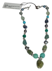 Stephen Dweck STEPHEN DWECK 781216 SILVER AQUAMARINE, PEARL, PERIODOT STONE NECKLACE
