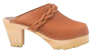 MIA Wooden Heel Leather Cognac Tan