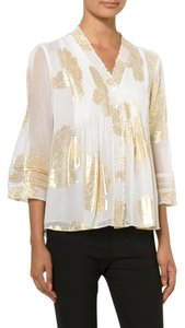 Diane von Furstenberg Silk Mettalic Top ivory and gold
