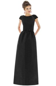 Alfred Sung Black Polyester D569 Retro Bridesmaid/Mob Dress Size 6 (S)