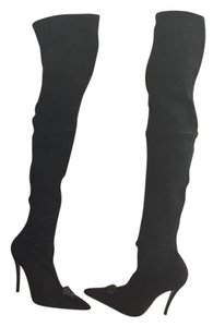 Versace Suede Thigh High Boot Black Boots