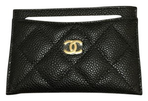 Chanel NWT CHANEL Caviar Quilted Card Holder O Case Black