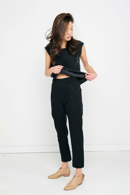 Elizabeth Suzann Made In Nashville Made In Usa Cotton Elastic Waist Relaxed Pants black Image 4