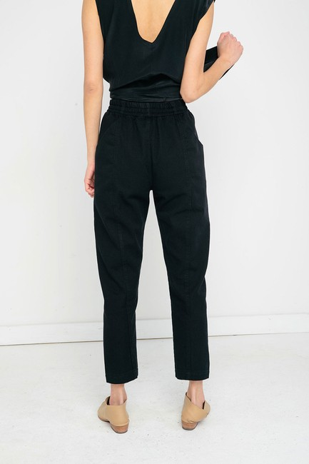 Elizabeth Suzann Made In Nashville Made In Usa Cotton Elastic Waist Relaxed Pants black Image 5