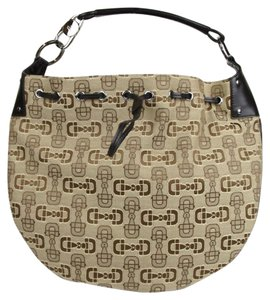Gucci Horsebit Canvas Draw String Hobo Bag