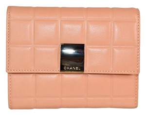 Chanel Authentic Chanel Peach Lambskin Leather Billfold Wallet