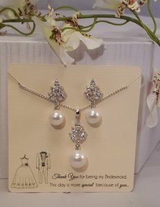 Bridesmaid Faux Pearl Drop Gift Set Silver Plated Cz
