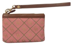 Dooney & Bourke Wristlet in Pink with green stitching.
