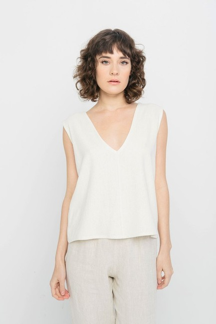 Elizabeth Suzann Raw Silk Made In Nashville Made In Usa Ethical Top beige Image 5