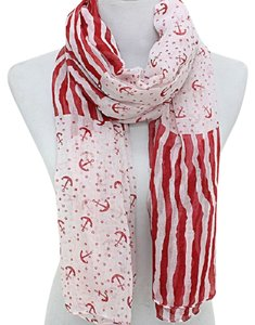 Other Nautical By The Sea Anchor Stripe Red And White Scarf