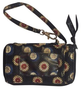 Vera Bradley Wristlet in Black with white, red & yellow flowers with owls