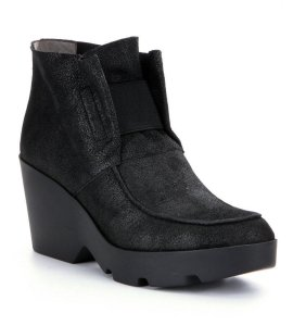 Eileen Fisher Shimmer Stretch Vamp Black Marcasite Boots