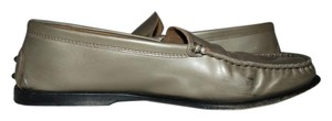 Tod's Brown Lizard Skin Loafers Size 39.5 METALLIC Flats