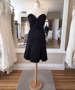 Allure Bridals Black Satin 1419 Formal Bridesmaid/Mob Dress Size 8 (M)