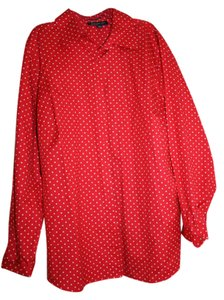 Jones New York Dot Button Down Shirt red with white polka dots