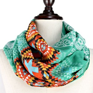 Other Diamond Chevron Cross Skull Turquoise Multicolor Infinity Scarf