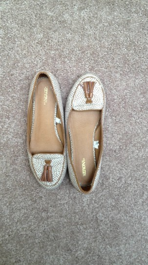 Merona cream and brown Flats