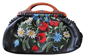 Isabella Fiore Leather Embroidered Studded Floral Satchel in Black, Multi
