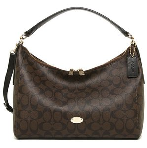 Coach East/west Celeste Hobo/crossbody Canvas Black/brown Hobo Bag