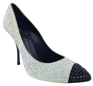 Giuseppe Zanotti Crystal Stiletto White & Black Pumps