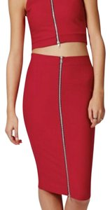 Missguided Midi Skirt Rose Red zipper skirt. This sexy zip skirt with matching zip top will take you over the top. This skirt compliments and hugs your figure .