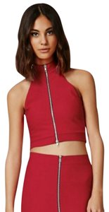 Missguided Zip Crop Top Red