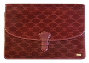 Céline Vintage Pre-owned Zipper Pocket Logo Burgundy Clutch