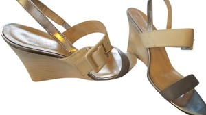 Kate Spade Silver Neutral Beige, Grey, Metallic Wedges
