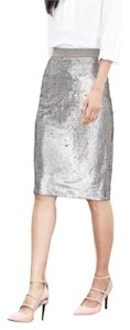 Banana Republic Sequin Pencil Formal High Wasted Skirt Silver/Beige