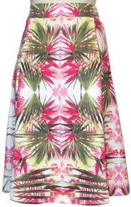 INC International Concepts Plus Stretch Line Floral Skirt White Bright Pink & Green