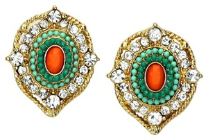 Victorian Crystal Accent Mint Green Coral Stud Earring